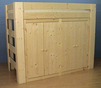 Hoogslaper met kast - houtenbed